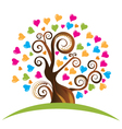Tree with ornaments and hearts vector image