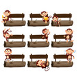 wooden sign and many monkeys on log vector image vector image