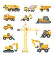 heavy construction machines excavator bulldozer vector image