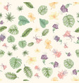 seamless tropical palm leaves and flowers pattern vector image