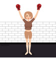 woman celebrating win in boxing wearing gloves vector image