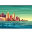 beautiful sunrise over cartoon city with vector image