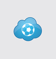 Blue cloud football ball icon vector image