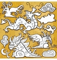 dragon icon set vector image
