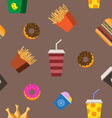 Fast food seamless pattern flat vector image