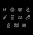 forensic expertise white line icons set vector image