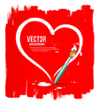Paint brush heart shape on red background vector image