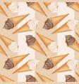 realistic chocolate and vanilla ice cream pattern vector image