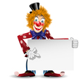 cheerful clown with a white placard vector image