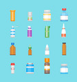 cartoon medicine bottles for drugs color icons set vector image
