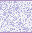 seamless pattern sketch floral bird vector image