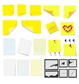 Office sticky notes and turned paper vector image vector image