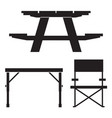 camping and picnic table icons vector image