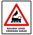 Traffic sign level crossing with barries ahead vector image