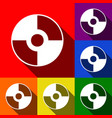 Cd or dvd sign set of icons with vector image
