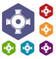 pipe fitting icons set hexagon vector image