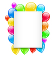 Birthday card with colorful balloons with space vector image