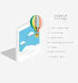 Flat 3d isometric design of the startup process vector image