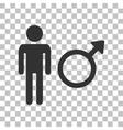 Male sign Dark gray icon on vector image