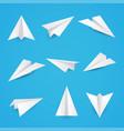 set a simple paper planes icon vector image