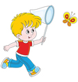 Boy catching a butterfly vector image vector image