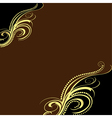 background with golden ornament and brown vector image