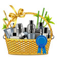 basket with male cosmetics