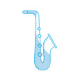 silhouette saxophone musical instrument to play vector image