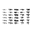 guns silhouettes set vector image