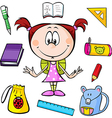 a girl with school supplies vector image