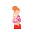 flat cartoon woman with newborn baby vector image