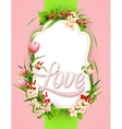 Greeting card with colorful flower background vector image