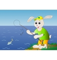 Rabbit fisherman fishes in the sea vector image