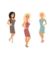Three young women are posing vector image