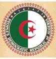 Vintage label cards of Algeria flag vector image