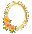 golden oval frame with flowers vector image
