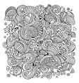 cartoon hand-drawn doodles underwater life vector image