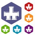 drain system icons set hexagon vector image
