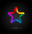 Origami rainbow Star from paper on black vector image