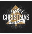 vintage christmas on black with tree vector image