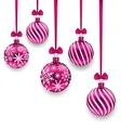 Christmas Pink Glassy Balls with Bow Ribbon vector image vector image