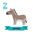 Zonkey Z letter Cute children animal alphabet in vector image