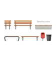 benches flat icons vector image