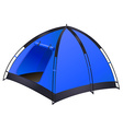 Blue camping tent on white vector image
