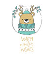 cute christmas bear portrait warm winter wishes vector image