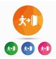 Emergency exit sign icon Door with right arrow vector image