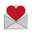 letter heart draw vector image