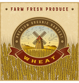 Vintage colorful wheat harvest label vector image