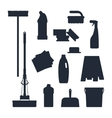 Cleaning service Set house tools icons logo black vector image