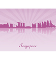 Singapore skyline in purple radiant orchid vector image
